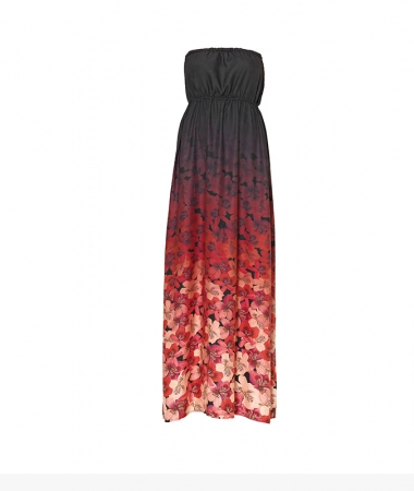 Oriental Flowers Long Dress