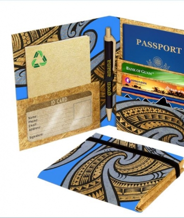 Travel passport wallet - tribal blue