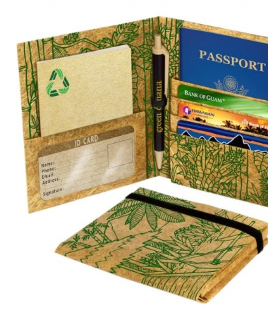 Travel passport wallet - tribal green